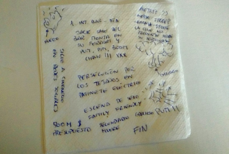 michael bay guion en servilleta